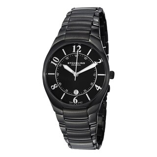 Stuhrling Original Men's Regalia Swiss Quartz Black Stainless Steel Bracelet Watch