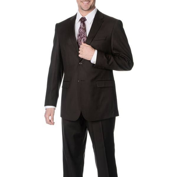 Pronto Men's 'Wool Max' Brown Wool Blend 2-piece Suit - Free ...