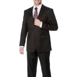 Pronto Men's 'Wool Max' Brown Wool Blend 2-piece Suit
