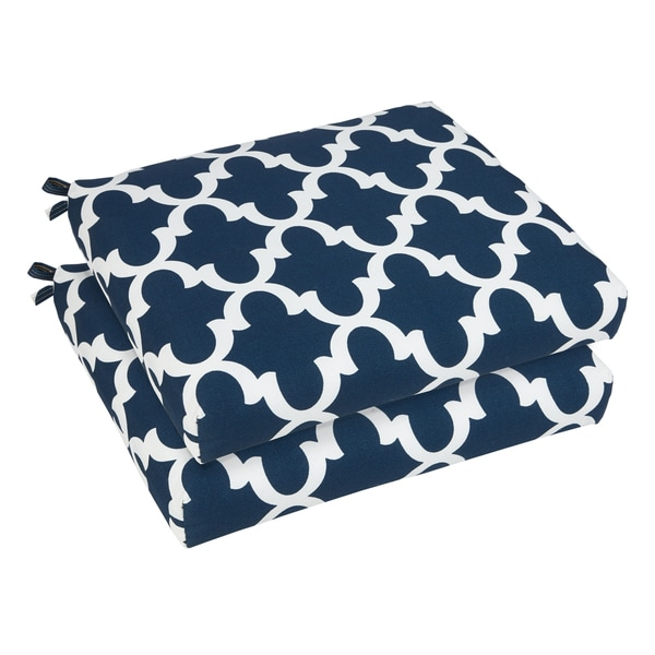 bristol 19 inch indoor outdoor scalloped navy chair cushion set