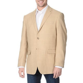 Prontomoda Italia Men's 'Super 140' Sand Natural Stretch Wool Jacket
