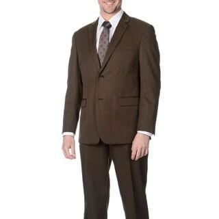 Martino Men's Slim Fit Wool Rich Brown Wool Blend Suit