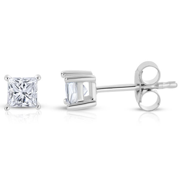 Montebello 14k White Gold 1/2ct TDW Princess-cut Diamond Solitaire Stud Earrings