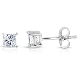 Montebello 14k White Gold 1/2ct TDW Princess-cut Diamond Solitaire Stud Earrings (H-I, I2-I3)