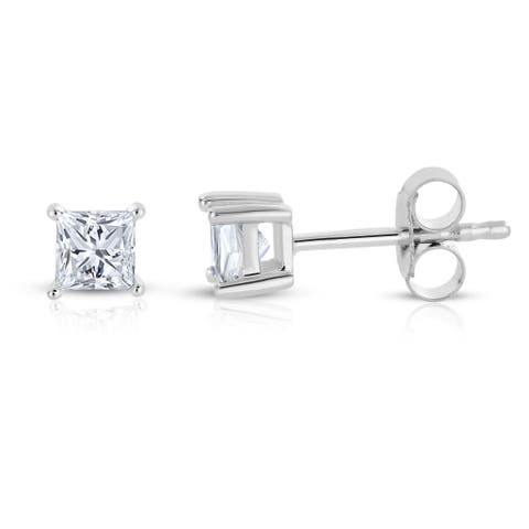 Montebello 14k White Gold 1/4ct TDW Princess-cut Diamond Solitaire Stud Earrings - White H-I
