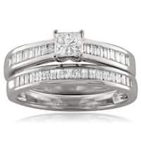 Montebello 14k White Gold 1ct TDW Princess-cut Diamond Bridal Set