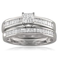 Montebello 14KT White Gold 1ct TDW Princess-cut Diamond Bridal Set