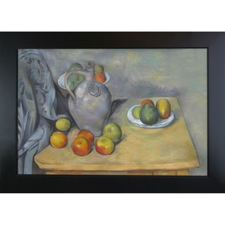Paul Cezanne 'Pitchet et Fruits sur une Table ' Hand Painted Framed Canvas Art