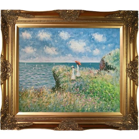 Claude Monet 'Cliff Walk At Pourville ' Hand Painted Framed Canvas Art