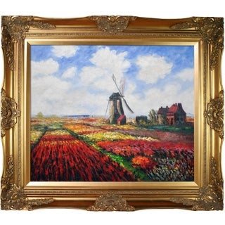 Claude Monet 'Tulip Field with the Rijnsburg Windmill ' Hand Painted Framed Canvas Art