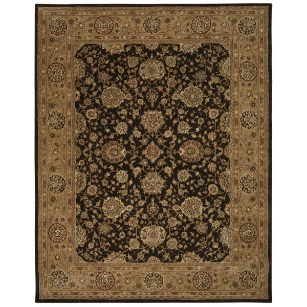 Chocolate Brown Floral Wool Area Rug - 9'9 x 13'9