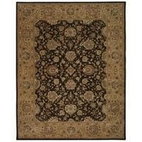 Chocolate Brown Floral Wool Area Rug - 9'9 x 13'9