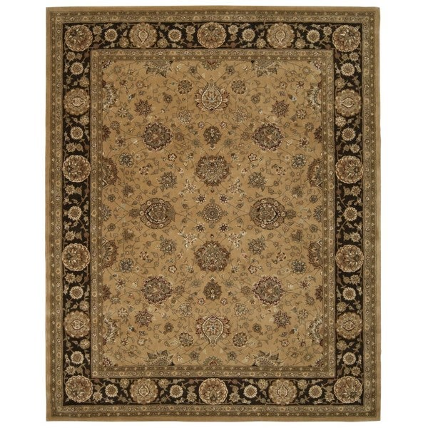 Taffe Brown Floral Wool Area Rug (9'9 x 13'9)