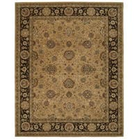 Taffe Brown Floral Wool Area Rug - 7'9 x 9'9