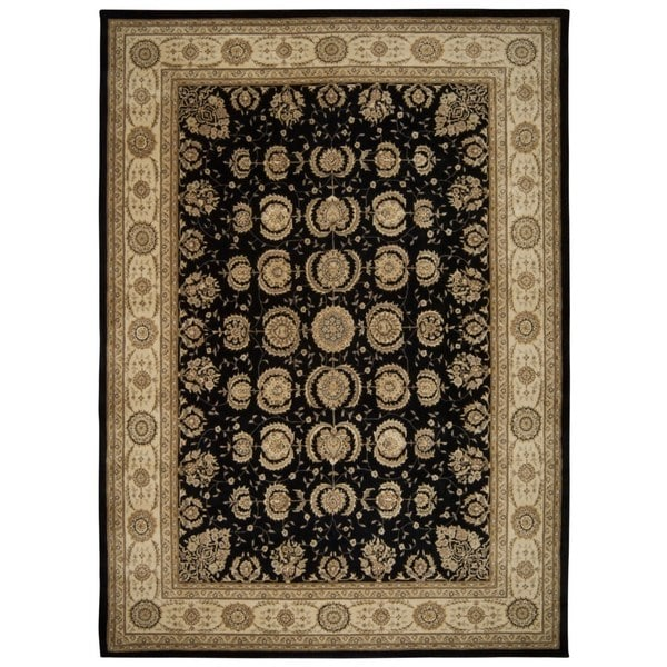 Black/ Beige Floral Wool Area Rug - 9'9 x 13'9