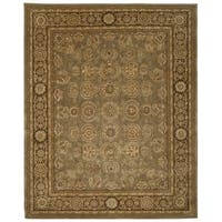 Green/ Brown Floral Wool Area Rug - 7'9 x 9'9