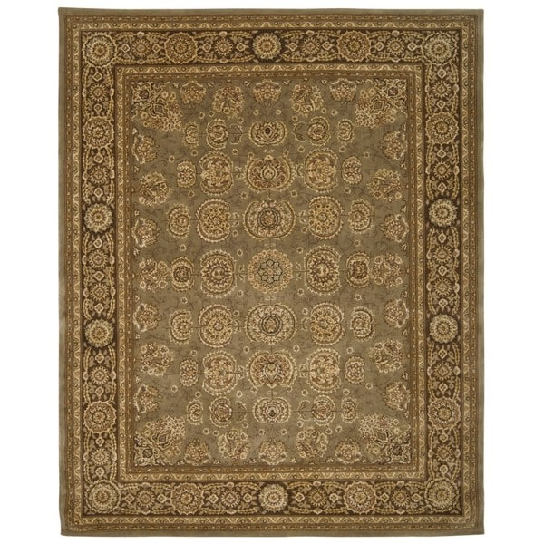 Green/ Brown Floral Wool Area Rug - 7'9 x 9'9