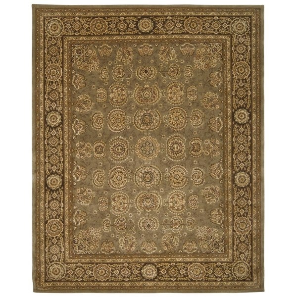 Green/ Brown Floral Wool Area Rug (9'9 x 13'9)