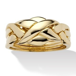 Yellow Gold-Plated Braided Puzzle Ring
