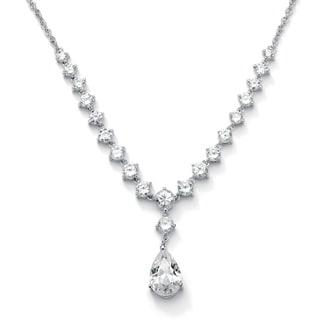 PalmBeach 6.65 TCW Pear-Cut Cubic Zirconia Y Necklace in Silvertone Glam CZ