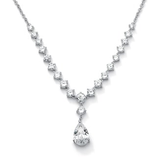 6.65 TCW Pear-Cut Cubic Zirconia Y Necklace in Silvertone Glam CZ