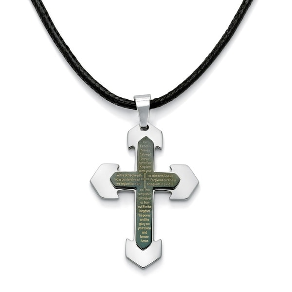 Shop Men S Lord S Prayer Cross Pendant And Fabric Cord In
