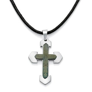 "PalmBeach Men's Lord's Prayer Cross Pendant and Fabric Cord in Stainless Steel and Black Ion-Plated 24"" - 27"""