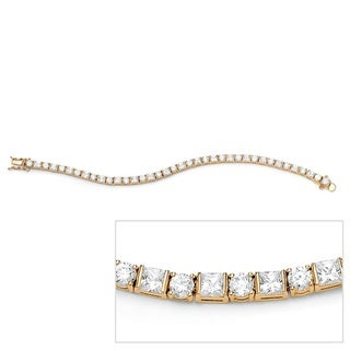 "PalmBeach 12.40 TCW Round and Princess-Cut Cubic Zirconia 14k Gold-Plated Tennis Bracelet 7 1/4"" Classic CZ"