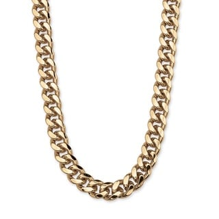 "PalmBeach Men's Curb Link Chain in Yellow Gold Overlay 30"" Necklace"