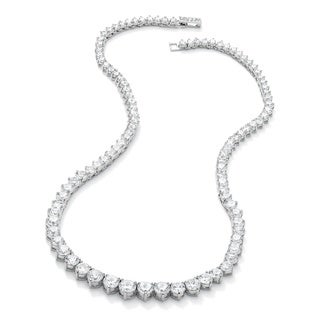 Silvertone 26 1/5ct Round Cubic Zirconia Eternity Necklace 16 inches