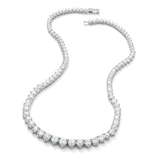Link to Silvertone 26 1/5ct Round Cubic Zirconia Eternity Necklace 16 inches Similar Items in Necklaces