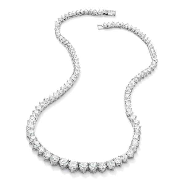 Silvertone 26 1/5ct Round Cubic Zirconia Eternity Necklace 16 inches. Opens flyout.