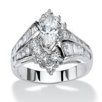 Platinum-plated Cubic Zirconia Engagement Ring - White