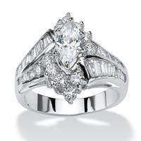 3.20 TCW Marquise-Cut Cubic Zirconia Platinum-Plated Engagement Anniversary Ring Glam CZ