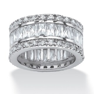 Platinum-plated Cubic Zirconia Eternity- Bridal Ring - White