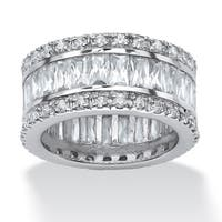9.34 TCW Round and Emerald-Cut Cubic Zirconia Platinum-Plated Eternity Band Ring Glam CZ