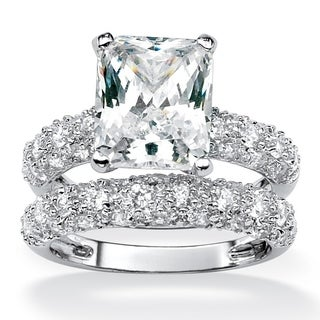 6.50 TCW Emerald-Cut Cubic Zirconia Platinum-Plated Bridal Engagement Ring Wedding Band Se