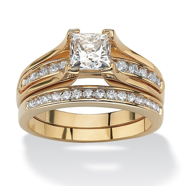 Yellow Gold-plated Cubic Zirconia Channel Bridal Ring Set - White