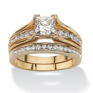 PalmBeach 1.88 TCW Princess-Cut Cubic Zirconia 14k Gold-Plated Bridal Engagement Ring Wedding Band Set Classic CZ