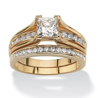 188 TCW Princess Cut Cubic Zirconia 14k Gold Plated Bridal Engagement Ring Wedding Band