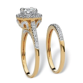 1.79 TCW Round Cubic Zirconia 18k Gold-Plated Bridal Engagement Ring Wedding Band Set Clas