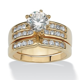 2.89 TCW 2 Piece Round Cubic Zirconia Bridal Ring Set in Yellow Gold Tone Classic CZ