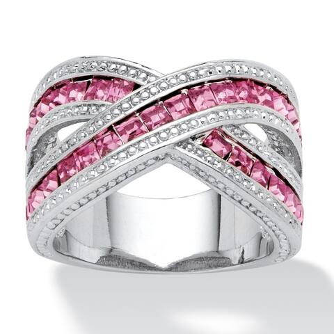 Silver Tone Pink Cubic Zirconia Crossover Ring