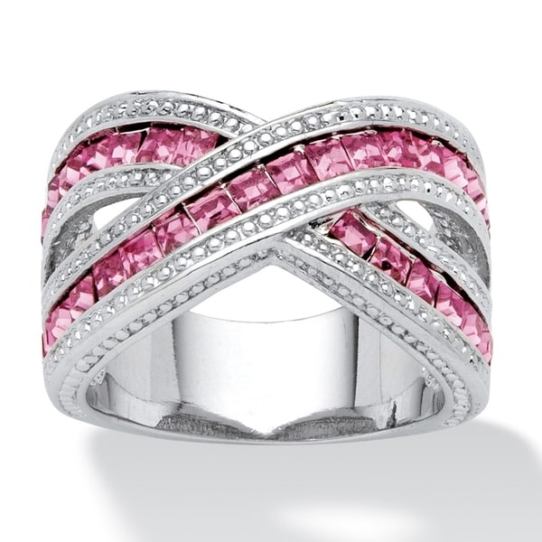 Silver Tone Pink Cubic Zirconia Crossover Ring. Opens flyout.