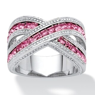 2.52 TCW Pink Princess-Cut Cubic Zirconia Crossover Ring in Silvertone Color Fun