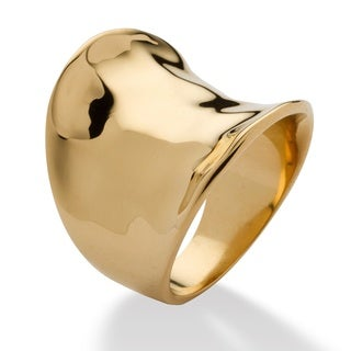 PalmBeach Concave Cigar Band Ring 18k Gold Plated Tailored