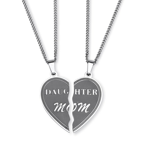 Heart Breakaway Daughter Mom Breakaway Pendants with Chains in Stainless Steel Tailored