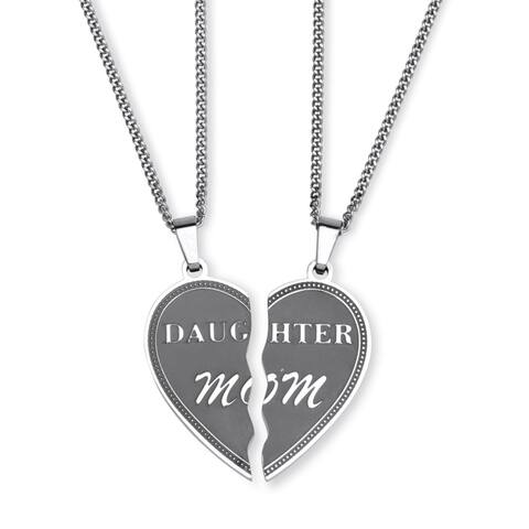 Heart Breakaway Daughter Mom Breakaway Pendants with Chains in Stainless Steel Tailored