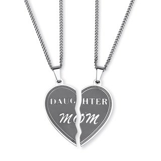PalmBeach Heart Breakaway Daughter Mom Breakaway Pendants with Chains in Stainless Steel Tailored