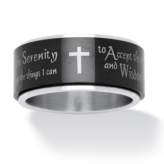 PalmBeach Serenity Prayer Cross Spinner Ring in Black IP Stainless Steel and Stainless Steel Tailored